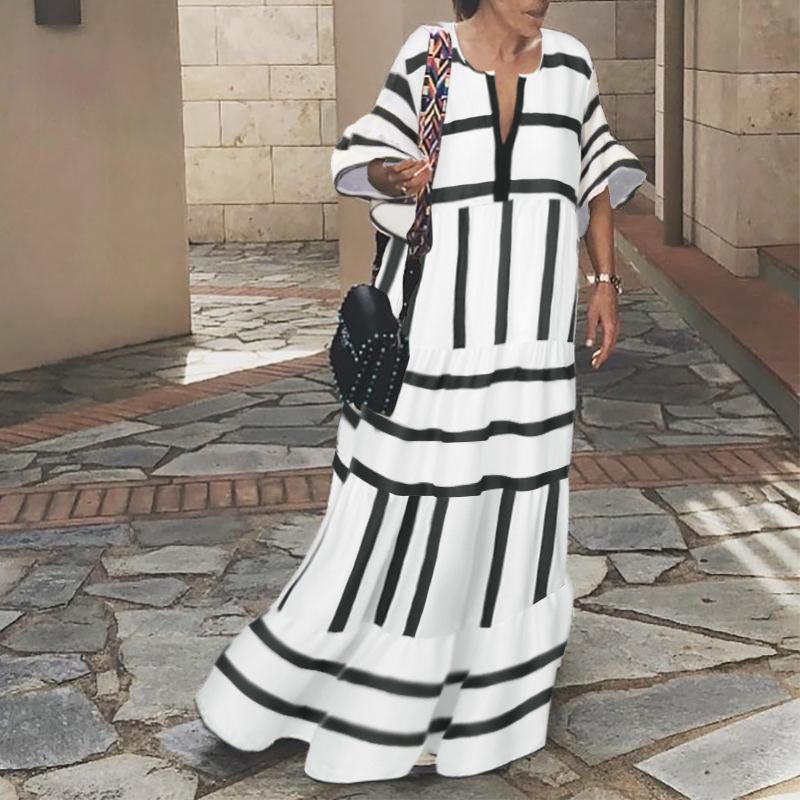 VONDA Sexy V Neck Vintage Dress Women Half Sleeve Bohemian Maxi Long Dresses Casual Loose Beach Party Vestidos Femme Robe 5XL