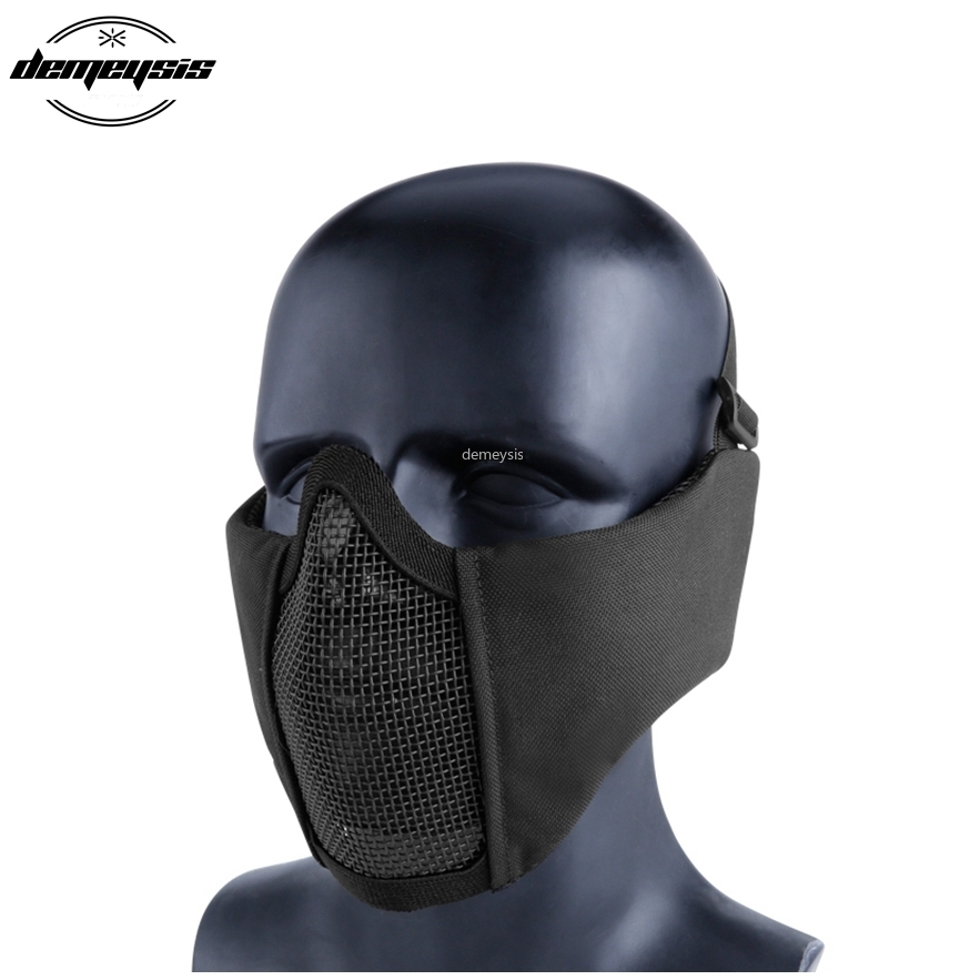 Half Face Airsoft Mesh Mask with Ear Protection Military Tactical Lower Face Protective Breathable Paintball Mask