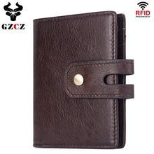 GZCZ бренд для мужчин из натуральной кожи ID/кредитный зажим для денег двойной складной мужской кошелек Billfold зажим для кошелька для денег кошелек с отделами для карт тонкий