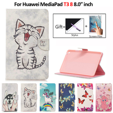 8 дюймов чехол для планшета Huawei MediaPad T3 8 чехол Kawaii Единорог кошка щенок кожаный чехол для Huawei MediaPad T3 8 чехол Чехол + ручка