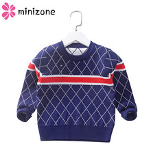 цена на 2019 Casual O-Neck Boys Sweaters Baby stripe Plaid Pullover Knit Kids Clothes Autumn Winter New Children Sweaters Boy Clothing M