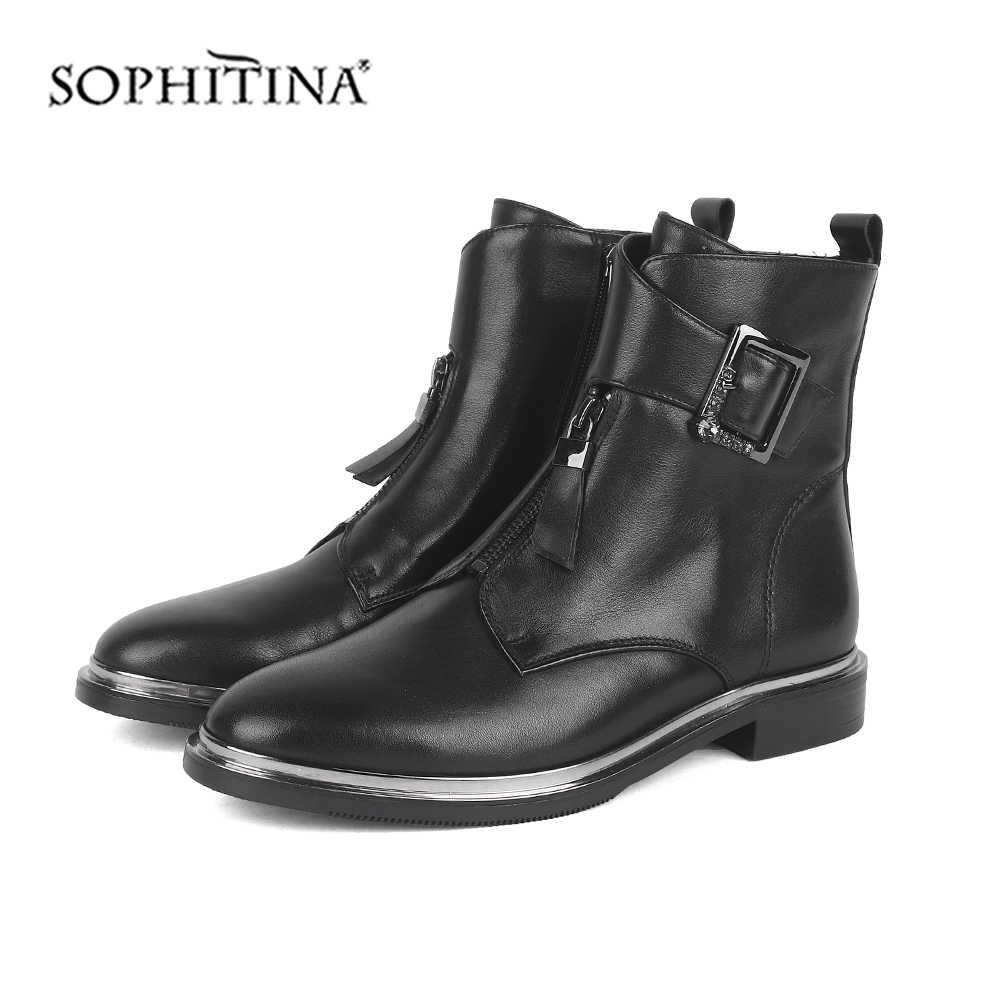 SOPHITINA moda toka çizmeler katı yüksek kalite hakiki deri rahat yuvarlak ayak ayakkabı yeni ayak bileği bayan botları SC536