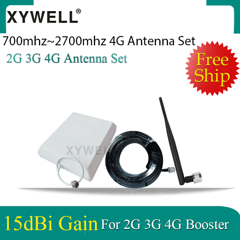 4G Antennas 700~2700mhz Outdoor Panel Antenna Indoor Whip Antenna 15 Meter Cable For 2G 3G 4G Mobile Signal Booster