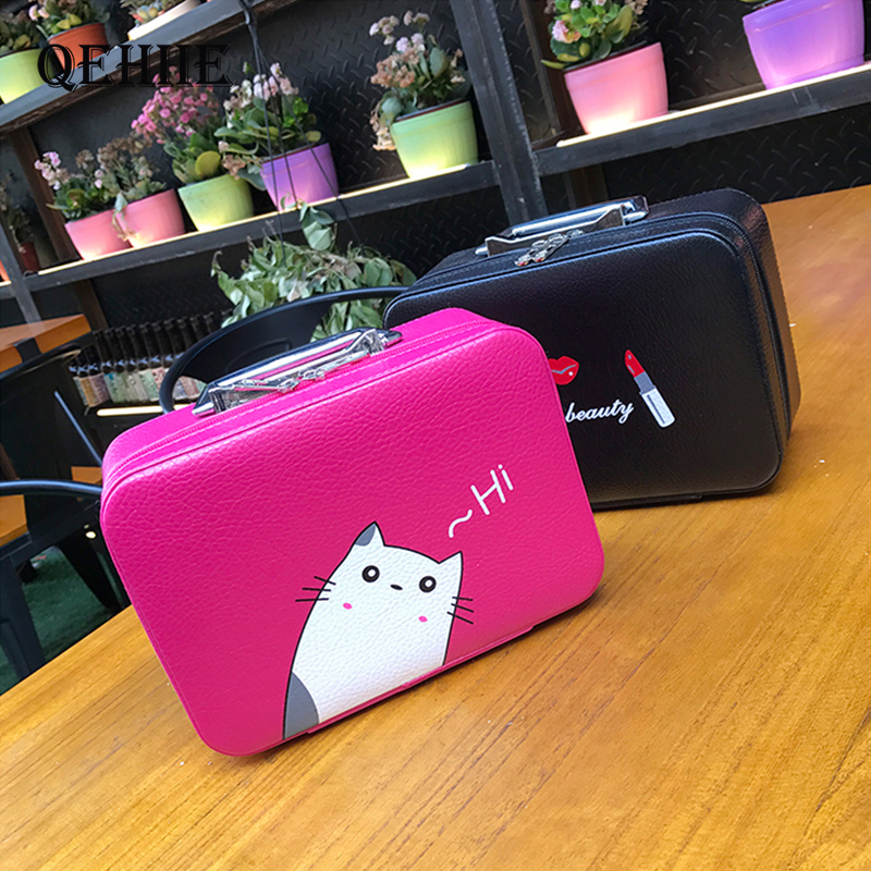 Travel Organizer Big Cosmetic Case Large Capacity  Suitcase Fashion Travel Make Up Bags Waterproof Lovely Young Girl Beauty  Box