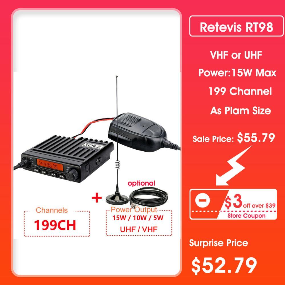 Car Walkie Talkie Radio Station RETEVIS RT98 VHF ( Or UHF) 15W Car Mobile Radio Car Two-way Radio Ham Radio Transceiver Truckers
