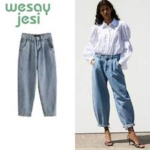 Women Mid waist boyfriend jeans for women mom jeans 2019 new Autumn casual style women jeans blue denim pant harem pants new arrival boyfriend jeans for women mid waist jeans loose style low elastic puls size jeans womans causal full length jeans