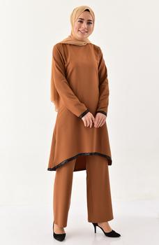 Minahill cekiny szczegóły tunika spodnie podwójny garnitur Tan moda muzułmańska islamska odzież skromne topy arabska odzież długa 11174-01 tanie i dobre opinie TR (pochodzenie) tops Aplikacje Bluzki i koszule Octan Dla dorosłych