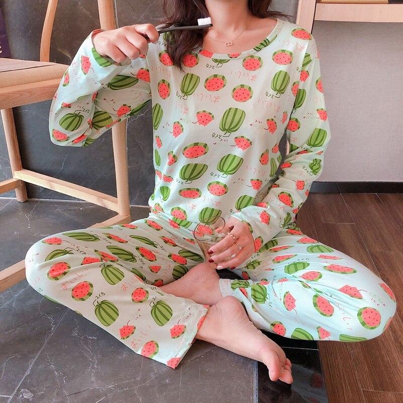 Pyjama en Polyester à manches longues, ensemble de vêtements de nuit pour femmes, 2 pièces, vêtements de nuit, sac en tissu, pantalon Long, 2020