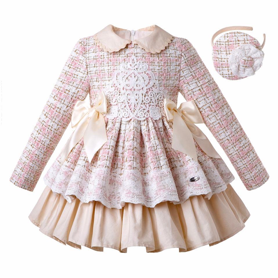 Pettigirl Dresses Headband Fluffy Elegant Autumn New-Fashion Tweed with Children G-DMGD206-182