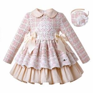Image 1 - Pettigirl Neue Spitze Winter Mädchen Kleider Flauschigen Prinzessin Kleid Mädchen Elegante Tweed Geburtstag Kinder Kleidung Boutique