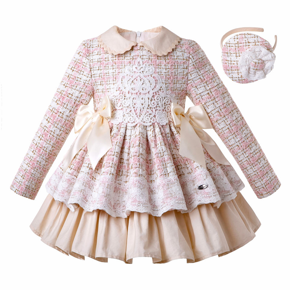 Boutique Baby Outfit New Toddler Spring Pink frill ruffle dress girl Easter