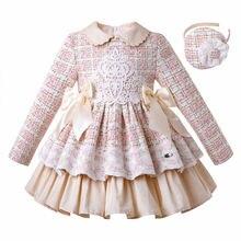 Pettigirl New Lace Winter Girls Dresses Fluffy Princess Dress Girls Elegant Tweed Birthday Kids Clothing Boutique