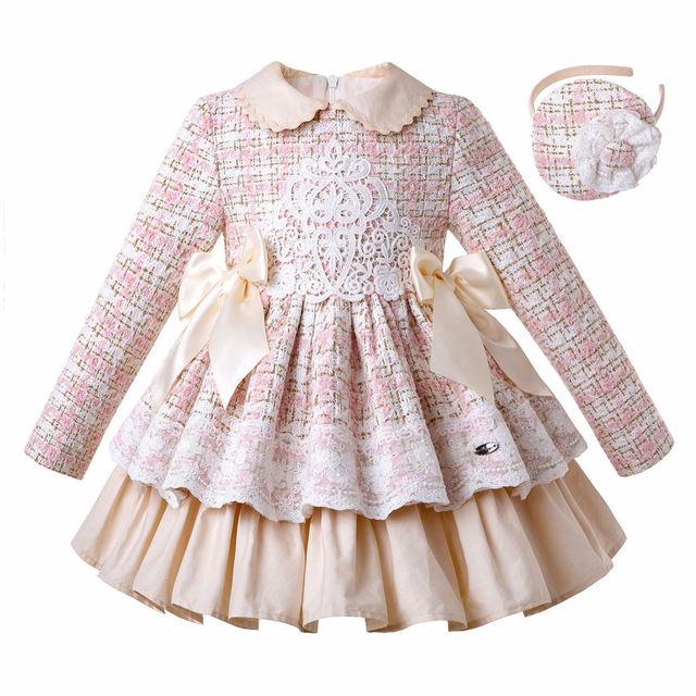 Pettigirl yeni dantel kış kız elbise kabarık prenses elbise kız zarif tüvit doğum günü çocuk giyim butik