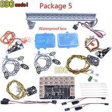 Farol dianteiro e traseiro led + conjunto de farol para grupo ic, kit de lâmpada para substituição rc crawler trx4, peças para carro rc acessórios