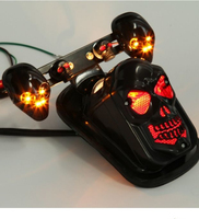 Chrome Skeleton Style Modified Motorcycle LED Skull Taillight With Turn Signal Motorbike Tail Lights Plus Steering Styling 5