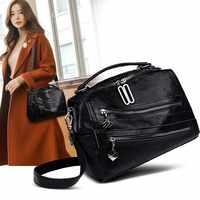 Sacchetto di cuoio genuino delle donne 2020 new black sacchetto di marca per le donne pommax sacchetto di spalla delle donne