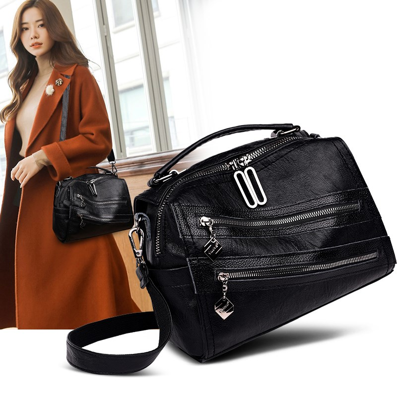 Women's Genuine Leather Bag 2020 New Black Brand Bag For Women Pommax Women's Shoulder Bag