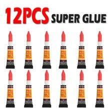 12 pçs líquido super cola de madeira de borracha metal vidro cianoacrilato adesivo papelaria loja gel prego 502 instantânea forte bond couro