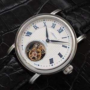 Image 5 - ספיר חיוג Mens Tourbillon שעונים מקורי ST8000 תנועה תנין עור גברים מכאני שעון יד למעלה מותג