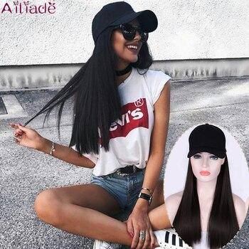 AILIADE Baseball Hut mit Synthetische Haar Perücke Schwarz Braun Lange Gerade haar Verlängerung mit Baseball Kappe Schwarz Hut für frauen