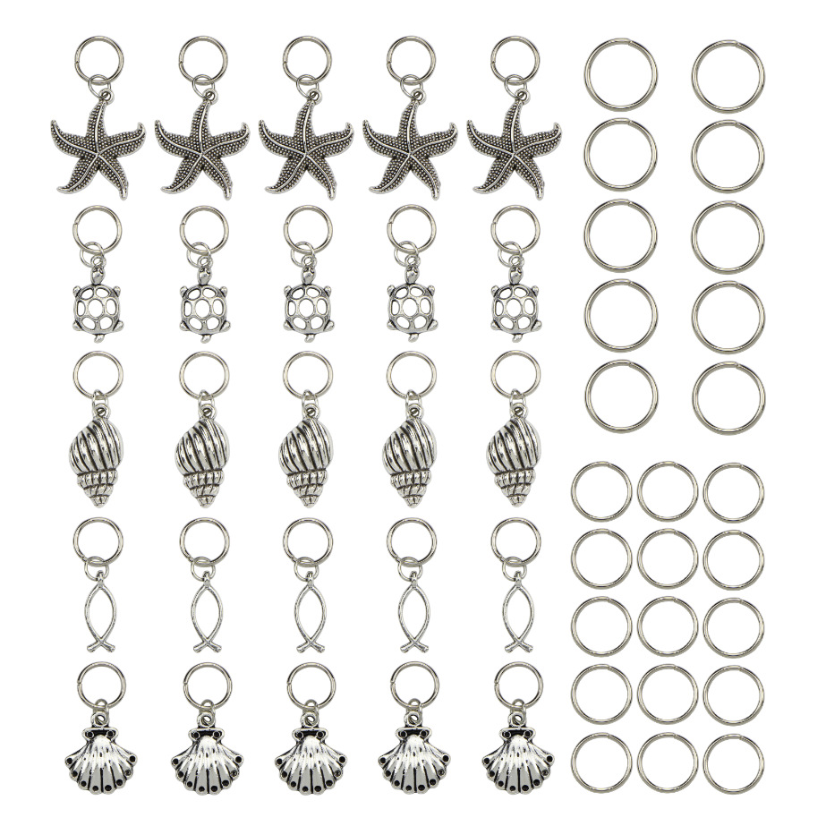 50 Pcs/Pack SiLver Turtle Shell Ocean Charms Hair Braid Dread Dreadlock Beads Clips Cuffs Rings Jewelry Dreadlock Accessories
