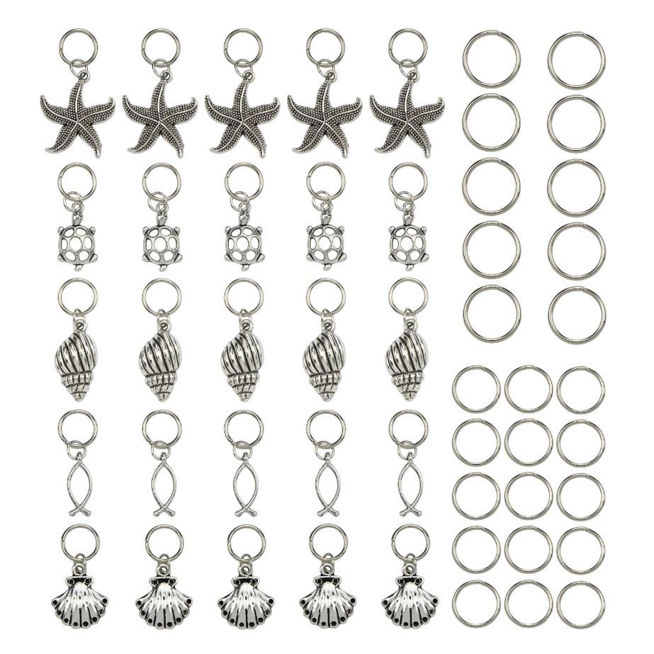 50 Pcs/Pack SiLver Turtle Shell Ocean Charms Hair Braid Dread Dreadlock Beads Clips Cuffs Rings Jewelry Dreadlock Accessories