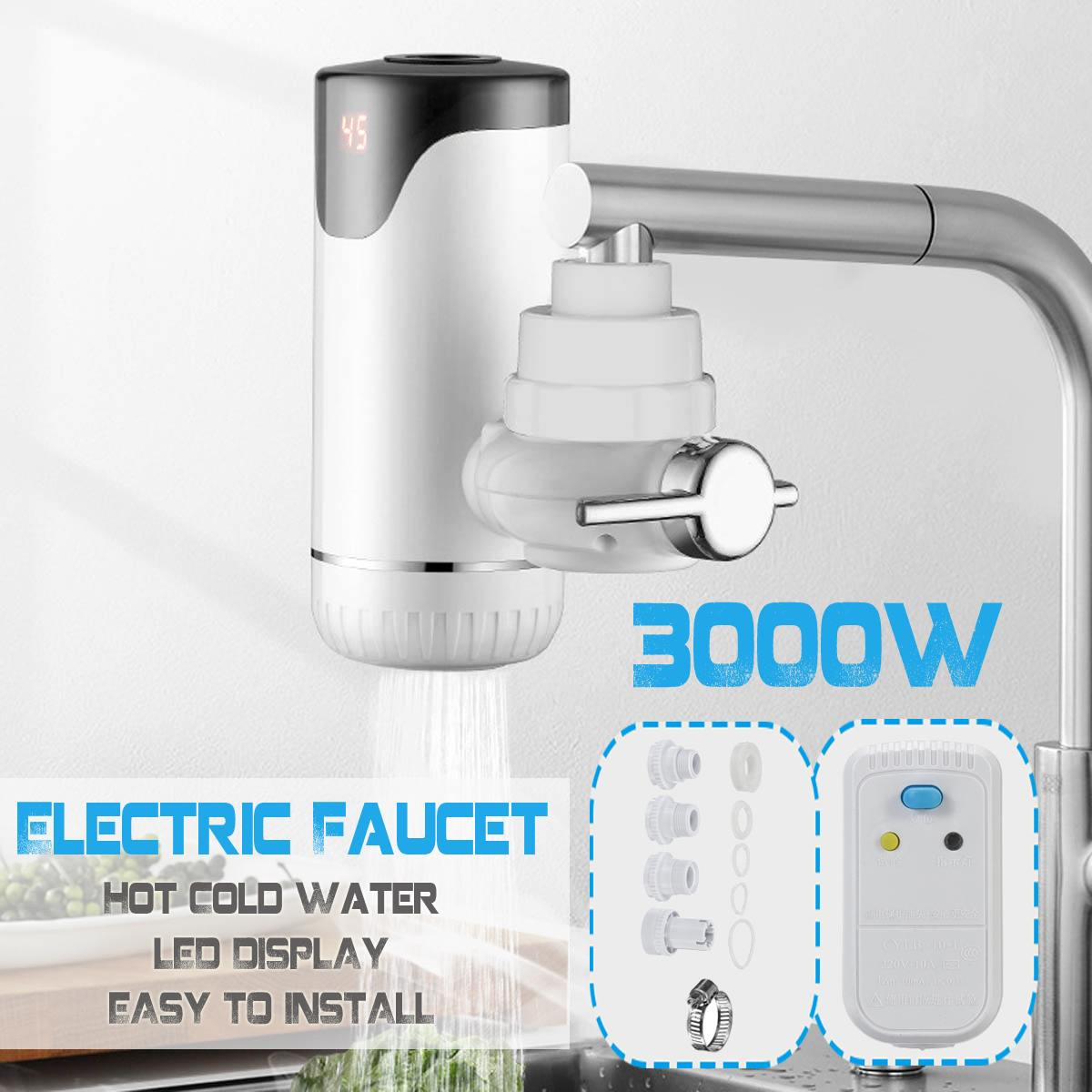 Electric Kitchen Water Heater Tap 30s Instant Tankless Fast Heating Hot Cold Warm water Digital Display Leakage Protector