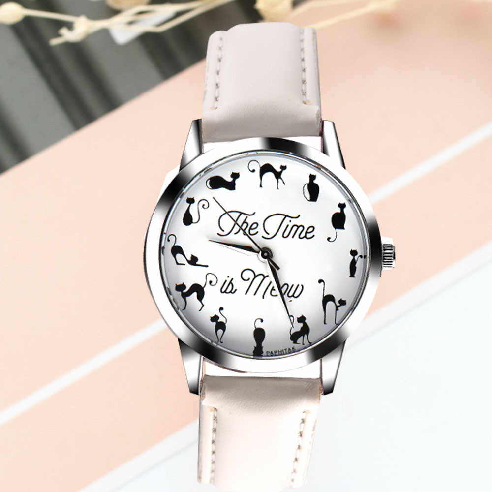 Yeni moda kadınlar saatler montre femme rahat kedi desen deri kuvars saatler kadınlar Relogio Feminino Bayan Kol Saati 2019