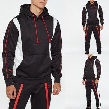 Men's Autumn Winter Tracksuit Print Hooded Sweatshirt Top Trousers Sets Sport Suit Long Sleeve Casual Coat Pullover 2020 Hoodies