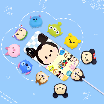 Tsum Tsum Cute Cartoon Bite Animal Cable Protector for iPhone USB Data Cable Chompers Charger Wire Winder Organizer Doll Model