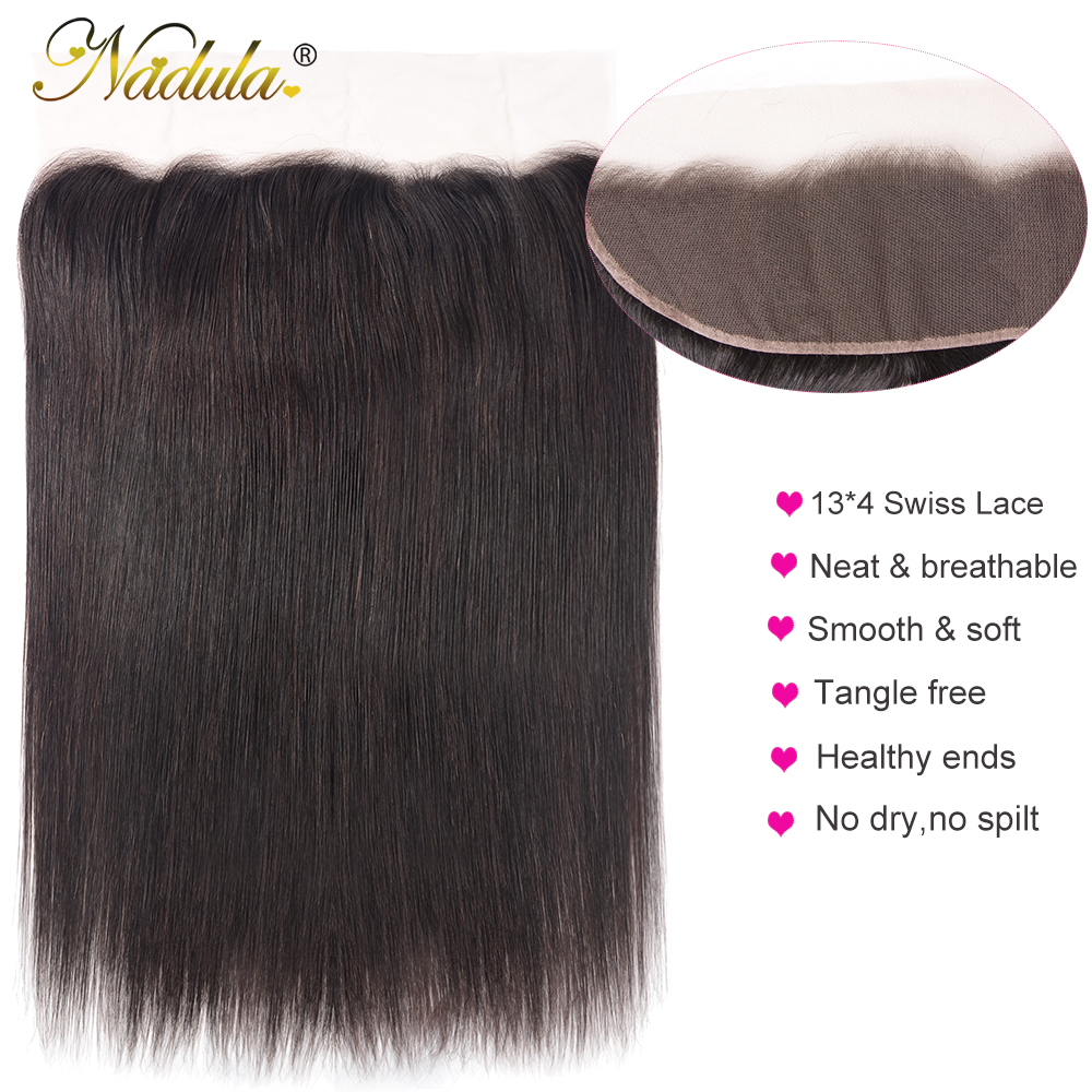 Nadula Hair 13x4 Lace Frontal Closure With Baby Hair  Straight Hair Frontal Pre Plucked ear to ear  100%  3
