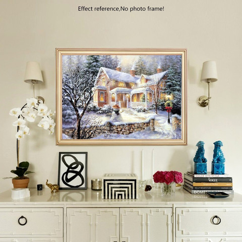 HUACAN DIY Diamond Painting Scenery Christmas Cross Stitch Kit Snow Full Square Winter Embroidery Beaded Mosaic Landscape Karachi