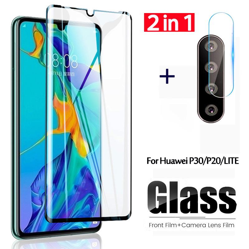 2 In 1 Tempered Glass On For Huawei P30 Lite Protective Glass Screen Protector Camera Len Film For Huawei P20 Lite P 20 30 Light