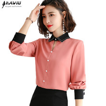 Chiffon Shirt Women Long Sleeve Autumn New Loose Lantern Sleeve Blouse Fashion Temperament Office Ladies Work Uniform