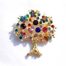 Милые ювелирные изделия золотого цвета, Дерево желаний, стразы, брошь, женские Украшения, смешанный цвет, кристалл, брошь для груди, аксессуар, ветровка, одежда