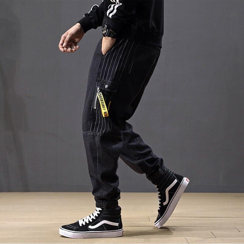 Top Quality Fashion Men Jeans Loose Fit Designer Pocket Stripe Cargo Pants Homme Harem Jeans Streetwear Hip Hop Jogger Jeans Men