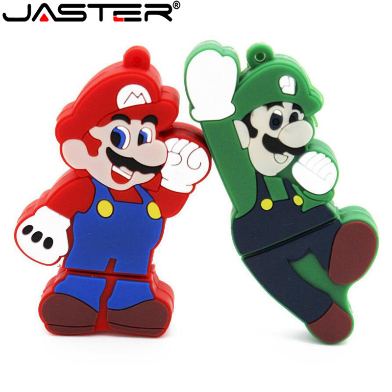JASTER 2018 Hot Fashion Creative Cartoon Mario %100 Real Capacity USB 2.0 4GB 8GB 16GB 32GB 64GB Gift USB Flash Memory Stick