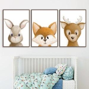 Настенное художественное изображение на холсте в виде лисы, оленя, медведя, совы, енота, скандинавские постеры и печать, Настенный декор для ...