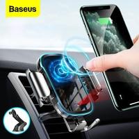 Baseus-cargador inalámbrico Qi de 15W para coche, montaje de inducción, carga rápida inalámbrica para iPhone, Samsung, Huawei, Xiaomi