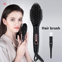 Multifunctional Hair Beard Comb Brush Ionic Straightener Hair Straightening Comb Hair Curler Quick Hair Styler For Men Women