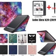 GLIGLE auto-sleep/wake case cover for KOBO Libra H2O case E-book case for KOBO N873+stylus+screen film