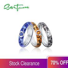SANTUZZA pierścionki srebrne dla kobiet kolorowe pierścienie emaliowane pierścień wieczności 925 srebro Party biżuteria Handmade emalia