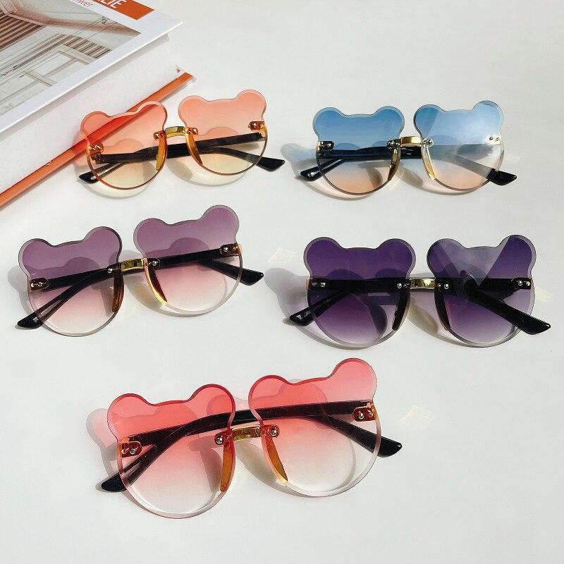2021 Kids Cute Cartoon Bear Shape Flower Round Sunglasses Boy Girls Children Vintage UV400 Colors Rimless Polarized Sun Glasses|Girl's Sunglasses| - AliExpress