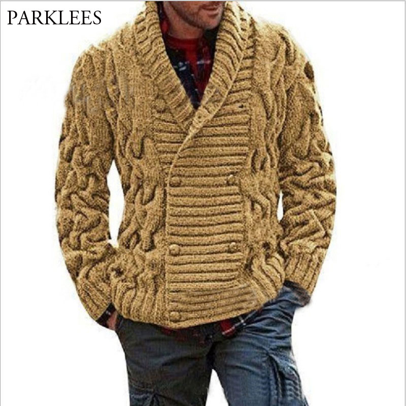 Double Breasted Mens Cardigan Sweater 2020 Autumn Sweater Coat Jacket Men Knitted Cardigan Pull Homme Twist Jumper Sweater XXL