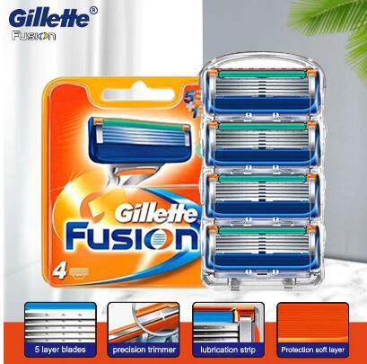 4 шт./лот лезвия для бритвы для мужчин, уход за лицом, кассета для бритья с 5 слоями, Безопасные лезвия из нержавеющей стали, подходит для Gillette ...