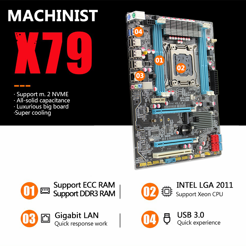 MACHINIST X79 LGA2011 Motherboard LGA 2011 ATX USB3.0 SATA3 PCI-E NVME M.2 SSD Support DDR3 REG ECC Memory Xeon E5 V3 Processor