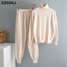 2020 2 Pieces Set Women Knitted Tracksuit Turtleneck Sweater + Carrot Jogging Pants Pullover Sweater Set CHIC Knitted Outwear cheap Ezsskj CN(Origin) Winter Regular Ankle-Length Ages 18-35 Years Old Elastic Waist Cotton Normcore Minimalist Full NONE Full Length