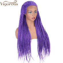 Vigorous Purple Color Synthetic Braided Lace Front Wigs for Black Women Heat Resistant Fiber Hair Wigs Premium Box Braid Wig