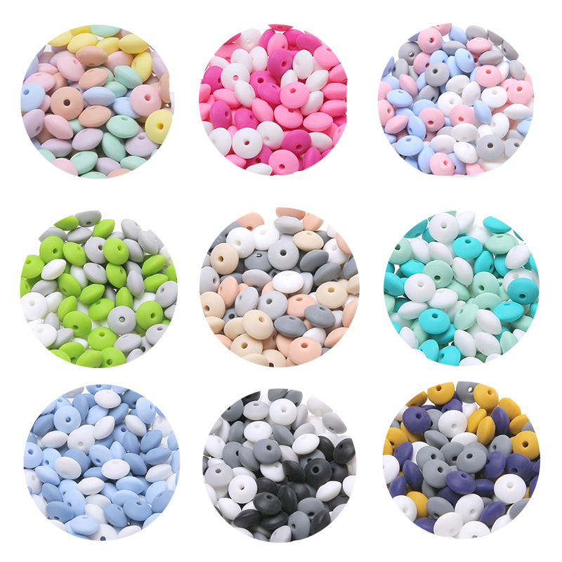 Bopoobo 12mm 20pc Silicone Beads Abacus Lentils Baby Teether Sensory DIY Crafts Chewable Organic Beads Baby Teether