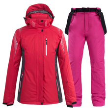 New Winter -30°C Warm Ski Suit Women Brand Female Ski Jacket And Pants Warm Waterproof Breathable Skiing And Snowboarding Suits cheap COTTON Polyester Hooded 101202 Fits true to size take your normal size Jackets Anti-Shrink Anti-Pilling Windproof